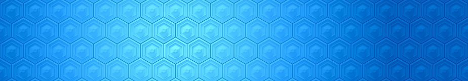 Fundo azul da bandeira do hexágono Fotos de Stock