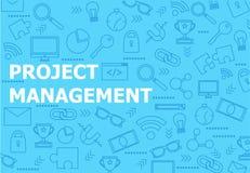 Fundo azul da bandeira da gestão do projeto com linha ícones Fotografia de Stock