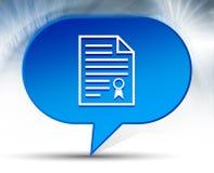 Fundo azul da bolha do ícone do papel do certificado imagens de stock