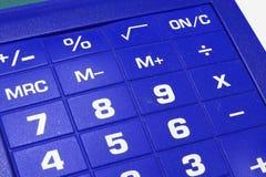 Fundo azul da calculadora foto de stock