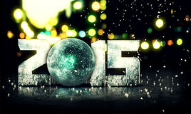 Fundo azul da cidade da neve 3D Bokeh da esfera 2015 Imagem de Stock Royalty Free