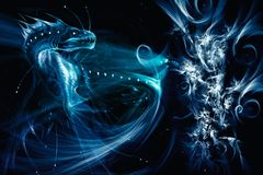 Fundo azul da luz do fractal do sumário artístico da rendição ilustração do vetor