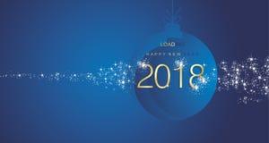 Fundo 2018 azul da paisagem da bola do ouro do fogo de artifício do ano novo feliz ilustração royalty free