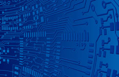 Fundo azul da placa de circuito ilustração do vetor
