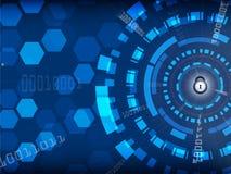 Fundo azul da segurança do Cyber com fechamento e conceito digital, da tecnologia e da informação ilustração stock