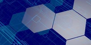 fundo azul da tecnologia 3D Imagens de Stock