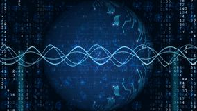 Fundo azul da tecnologia de Digitas da rede vídeos de arquivo