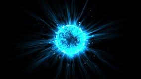 fundo azul da tecnologia da energia das partículas de voo do laser da fibra ótica da bola do alargamento 4k ilustração royalty free