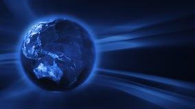 Fundo azul de FX com o globo de giro da terra, laço sem emenda, metragem conservada em estoque ilustração do vetor