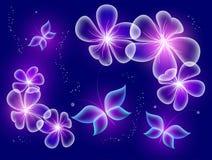 Fundo azul de incandescência com as borboletas mágicas verdes e as flores efervescentes Borboletas transparentes Foto de Stock