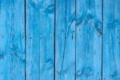 Fundo azul de madeira do painel da textura Imagens de Stock