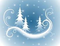 Fundo azul decorativo das árvores de Natal ilustração royalty free