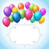 Fundo azul do aniversário vazio com balões coloridos Fotografia de Stock Royalty Free