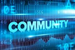 Fundo azul do azul do texto do conceito abstrato da comunidade Imagem de Stock Royalty Free