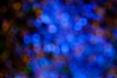 Fundo azul do bokeh criado pelas luzes de néon Foto de Stock