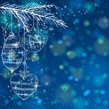 Fundo azul do brilho com bolas do Natal,   ilustração stock