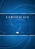 Fundo azul do certificado/diploma (molde) ilustração royalty free