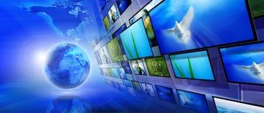 Fundo azul do Internet Fotografia de Stock Royalty Free