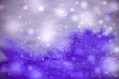 Fundo azul do inverno abstrato com flocos de neve Fotos de Stock