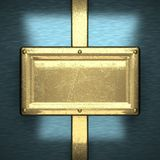 Fundo azul do metal com elemento amarelo Foto de Stock