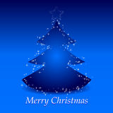 Fundo azul do Natal com árvore e estrela Fotografia de Stock Royalty Free