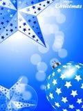 Fundo azul do Natal com estrelas e quinquilharia Imagens de Stock