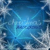 Fundo azul do Natal com flocos de neve ilustração do vetor
