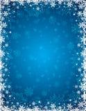 Fundo azul do Natal com quadro dos flocos de neve e das estrelas ilustração do vetor