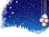 Fundo azul do Natal da neve Imagens de Stock Royalty Free