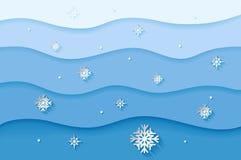 Fundo azul do Natal e do ano novo com flocos de neve de papel imagens de stock