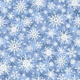 Fundo azul do Natal e branco sem emenda com flocos de neve Ilustração do vetor Imagens de Stock