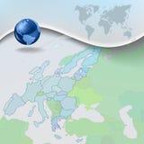 Fundo azul do negócio abstrato com globo ilustração do vetor