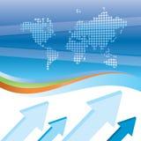Fundo azul do negócio com mapas e setas Imagens de Stock Royalty Free
