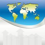 Fundo azul do negócio com mapas e setas Fotografia de Stock