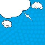 Fundo azul do pop art cômico com sombras e feixes de intervalo mínimo das nuvens Modelo do vetor de uma página típica da banda de Imagem de Stock