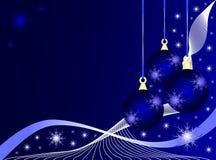 Fundo azul dos Baubles do Natal ilustração stock