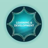 Fundo azul dos azul-céu do botão do sunburst vítreo mágico da aprendizagem & do desenvolvimento ilustração royalty free