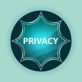 Fundo azul dos azul-céu do botão do sunburst vítreo mágico da privacidade foto de stock