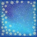 Fundo azul dos flocos de neve do Natal abstrato ilustração stock