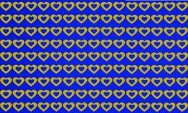 Fundo azul e amarelo da forma do coração do teste padrão imagens de stock royalty free