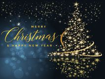 Fundo azul e dourado do Natal com Feliz Natal do texto e ilustração do ano novo feliz ilustração stock
