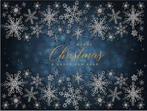 Fundo azul e dourado do Natal com Feliz Natal do texto e ilustração do ano novo feliz ilustração do vetor