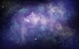 Fundo azul e roxo da ilustração do espaço com estrelas brancas brilhantes imagens de stock