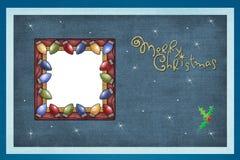 Fundo azul, frame festivo das luzes Foto de Stock Royalty Free