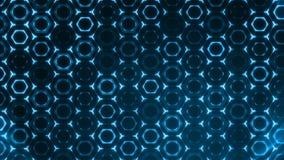 Fundo azul futurista do sumário geométrico com hexágonos com raios claros vídeos de arquivo