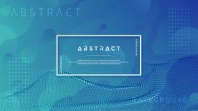 Fundo azul líquido na moda com combinações abstratas da onda da partícula Ilustração do vetor EPS10 ilustração stock
