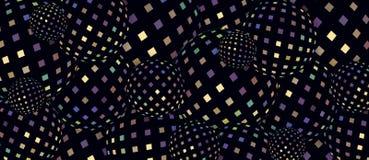 Fundo azul lilás das esferas 3d do mosaico amarelo do holograma Teste padrão geométrico luxuoso iridescente escuro ilustração do vetor