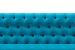 Fundo azul luxuoso do teste padrão do close-up do coxim de veludo da textura do sofá no branco fotografia de stock royalty free