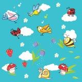 Fundo azul marinho com insetos e flores Foto de Stock
