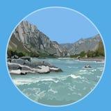 Fundo azul pintado do rio nas montanhas Fotografia de Stock Royalty Free